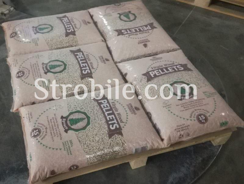Τα πέλλετ ξύλου Virgin Wood Pellets λευκής ελιάς στο πακέτο