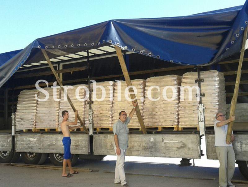 Μία απο τις αποστολές των πέλλετ ξύλου Virgin Wood Pellets λευκής ελιάς στην Ιταλία