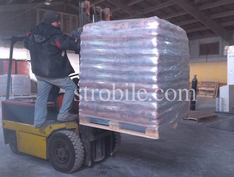 Το πρότυπο μέγεθος της σακούλας των πέλλετ είναι 1,2 x 1,0 x 1,5 (ύψος 1,50 μ.). Σε μία τυπικό σακούλα τών πέλλετ έχει 65 πακέτα των 15 κιλών